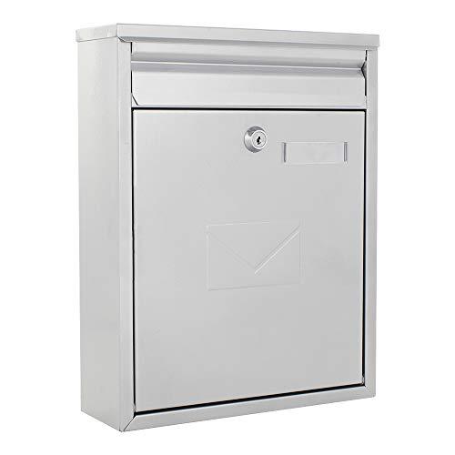 Rottner Briefkasten Como Silber Stahl-Briefkasten, Postkasten, Zaunbriefkasten, 2 Einwurfschlitze, Namensschild