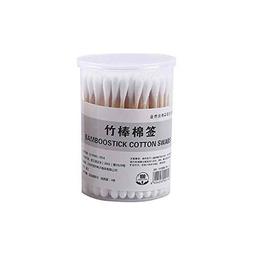 MVPKK Coton Tiges 500 Pièces Bourgeons de Coton en Bambou pour Outil de Nettoyage pour Soins de Nettoyage des Oreilles Soin des Blessures Outil Cosmétique Biodégradables Double Tête (100 Pcs, Blanc)