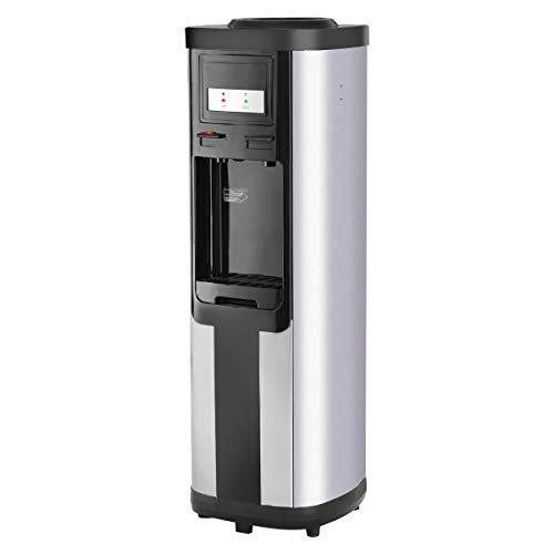 Top Loading Water Cooler Dispenser, Safeplus 5 Gallon Dispenser, Hot & Cold Water, Child Safety Lock, Removable Drip Tray, Hot Bottle Load Electric Home Or Office (StainlessSteel)