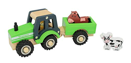 Unbekannt Holz Traktor / Trecker mit Anhänger und 2 Tieren: Kuh + Pferd / mit gummierten Reifen / für Kinder...