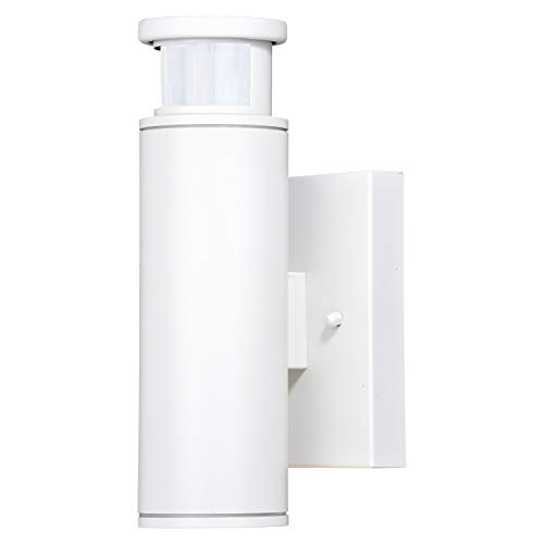 VAXCEL Motion Sensor Porch Light - White LED Aluminum Cylinder Modern Wall Sconce with Dusk to Dawn, Exterior Waterproof Downlight Wall Mount Lighting Fixture for Garage, Front Door, Patio