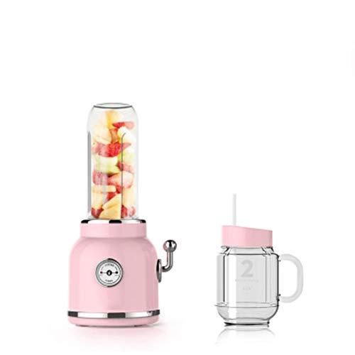 Love House Obst Mixer Entsafter,Retro-Blender Portable Saft Mixer Mixer Persönliche Electric Power Mixer Obst und Gemüse mit Travel Deckel Einzelne Servieren-Rosa