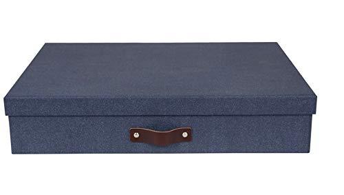 Bigso Box of Sweden Sortierkasten mit 12 Fächern – Aufbewahrungsbox mit Deckel und Griff für Accessoires, Bürobedarf, Kosmetik usw. – Fächerbox aus Faserplatte und Papier in Leinenoptik – blau