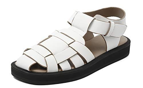 HYISHION Sandalias Antideslizantes Estilo Romano, Sandalias Planas Moda con Fondo Plano, Chanclas para Mujer Transpirables Zapatos,Blanco,EU37