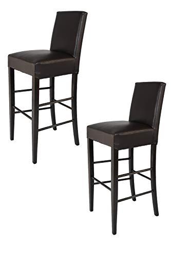 Tommychairs - Set 2 sgabelli alti e moderni modello Luisa per cucina e bar, struttura in legno di faggio color Wengé, Seduta e Schienale Imbottiti e Rivestiti in pelle artificiale colore marrone