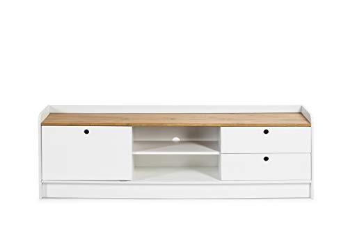 ambiato Design TV Lowboard Mona Weiß + Massivholz mit Schiebetür & Schubkästen Fernsehschrank TV Board Unterschrank