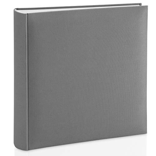 Hama Fotoalbum mit Stoffeinband 30x30 cm (Jumbo Fotobuch mit 100 weißen Seiten, Photoalbum mit Pergamin-Trennblättern, Album zum Selbstgestalten und Einkleben) grau