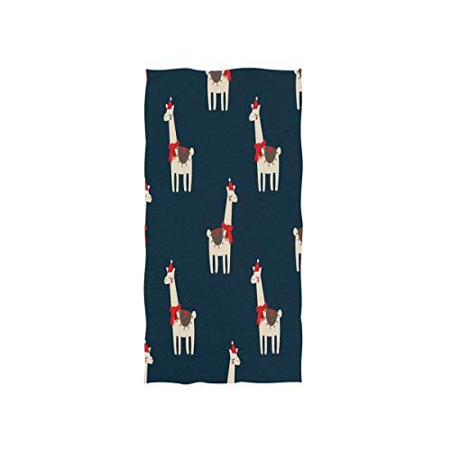NBHBVGFC Toalla de baño suave de alpaca con gorro de Navidad, para hotel, spa, gimnasio, deporte, 76,2 x 38,8 cm