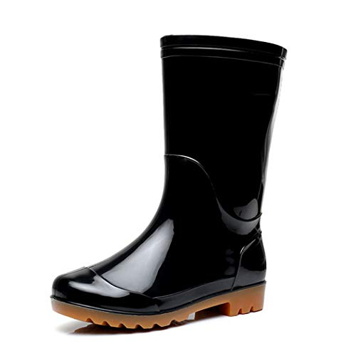 HHYHOME Mens Wellington Boots Safety Rain Shoes Wellies Boots Waterproof Mid Tube Outdoor Shoes Soft Fabric Lining Working Garden Welly Boots Best for Wet Weather,Black,43EU