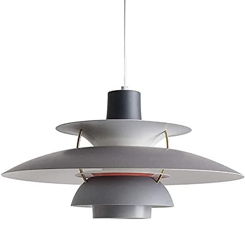 Lámparas Colgantes de Techo para Interiores, Lámpara Colgante E27 Iluminación Colgante de Interior de Metal para Comedor Salon Bar Café, Gris(No Incluye Bombilla)