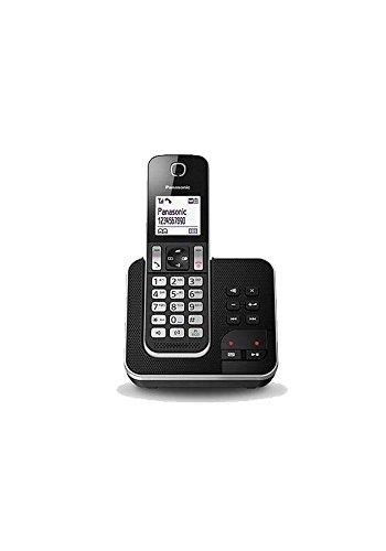 Panasonic KX-TGD320 - Teléfono fijo inalámbrico con Contestador (LCD, identificador de llamadas, agenda de 120 números, bloqueo de llamada, modo ECO, reducción de ruido), color negro