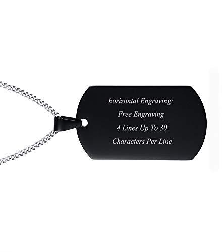 Schwarze Edelstahl personalisierte Hundemarke Halskette Hundemarke Anhänger für ihn, 24