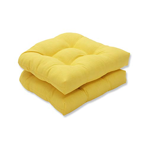 Pillow Perfect 550435 Outdoor/Indoor Fresco Tufted Seat Cushions (Round Back), 19' x 19', Yellow, 2 Pack