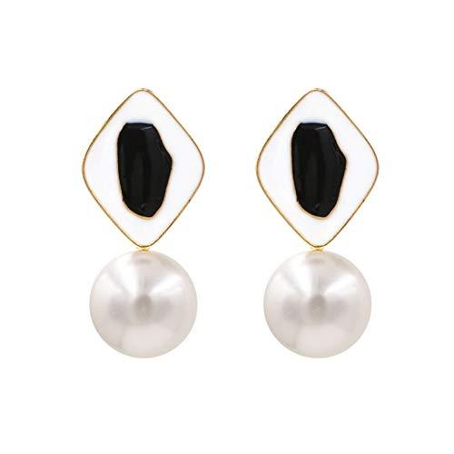 XCWQ Damesoorbellen Vodeshanliwen nieuwe oorstekers van messing met gesimuleerde parels 2019 oorbellen met geometrische nagellak voor damessieraden, Engeland cadeau