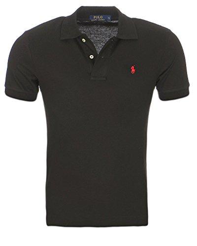 Ralph Lauren Polo Poloshirt Small Pony schwarz/rot Outletware Größe XXL