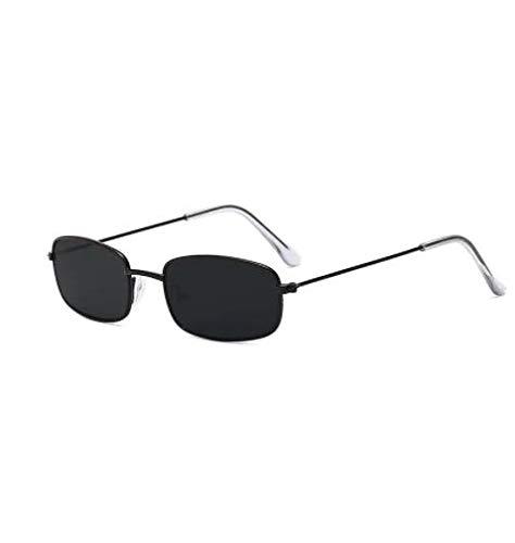 WENZHEN Gafas de Sol Vintage con Montura Rectangular de Metal y Marco pequeño, Calamar Negro
