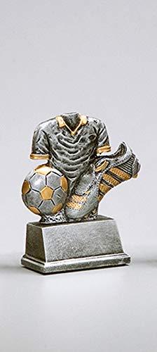 Henecka Fussball-Pokal, Resinfigur Trikot-Ständer Fußball, Silber mit Gold, mit Wunschgravur, Größe 11 cm