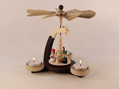 Ulrich Kunsthandwerk Design-Teelichtpyramide braun/Natur + Tüllen Natur mit Engel, Bergmann, Nussknacker, für 3 Teelichter Höhe 19 cm NEU Weihnachtspyramide Holzpyramide