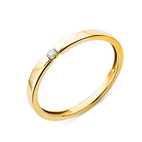 Miore Anillo solitario de compromiso en oro amarillo 9 quilates 375/1000 con diamante natural talla brillante de 0,03 quilates