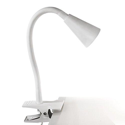 K2613 LED Klemmleuchte mit Schwanenhals inkl. 3 Watt GU10 LED Leuchtmittel (austauschbar). Flexiber Lampenarm, brilliant warmweißes Licht, Flexleuchte, Leselampe, Nachtlicht, Schreibtischlampe