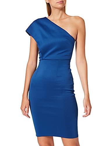 Marchio Amazon - TRUTH & FABLE Vestito Midi Monospalla Donna, Blu (Blue), 44, Label: M