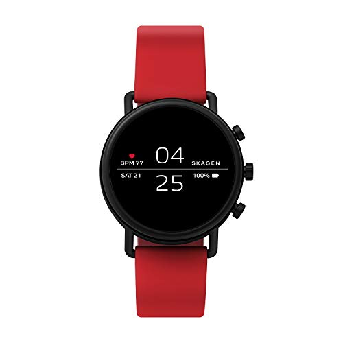 Skagen Connected Falster 2 Stainless Steel and Silicone Touchscreen Smartwatch, Color: Red (Model: SKT5113)