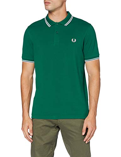 Fred Perry M3600 Polo, Verde Oscuro Y Bianco, M Uomo