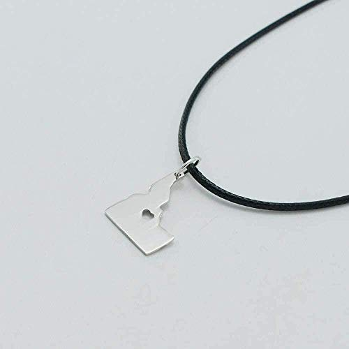 LDKAIMLLN Co.,ltd Necklace Fashion Idaho Map Necklaces USA Maps Stainless Steel Rope Pendant for Women/Men Gem State Id Pendant Necklace Gift for Men Women Girls Boys