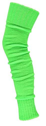 krautwear® Damen Beinwärmer Stulpen Legwarmers Overknees gestrickte Strümpfe ca. 70cm 80er Jahre 1980er Jahre (neon grün)