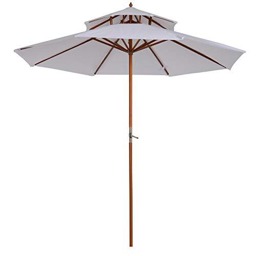 Outsunny Parasol en Bois peuplier Droit 2 Toit Polyester 180 g/m² dia. 2,7 x 2,6H m Blanc