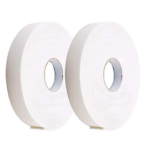 2PCS Doppelseitig Schaumstoff KlebendesKlettband Selbstklebend Extra Stark Doppelseitiges Schwammband Wasserdichtes 10m Lang 25mm Breit Weiß