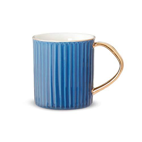 YIFEI2013-SHOP Tazas Taza de cerámica Exquisita Rayas de Estilo Europeo de Lujo de Gran Capacidad Creativa Taza de la Oficina Taza del Desayuno de la Leche, Tres Colores Tazas de Café (Color : Blue)