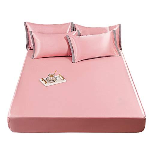 HOMFLOW Funda De Colchon Suave Transpirable Protector Colchón Topper Resistente Al Encogimiento Antideslizante Tela De Seda De Hielo Dormitorios (Color : Pink, Size : 120x200cm)