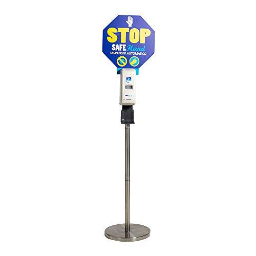 Security Clean Colonnina a Piantana In Acciaio Inox Con Dispenser Automatico Per Gel Igienizzante Mani, Erogatore Di Disinfettante Con Sensore e Piattino Salvagoccia (Dispenser)