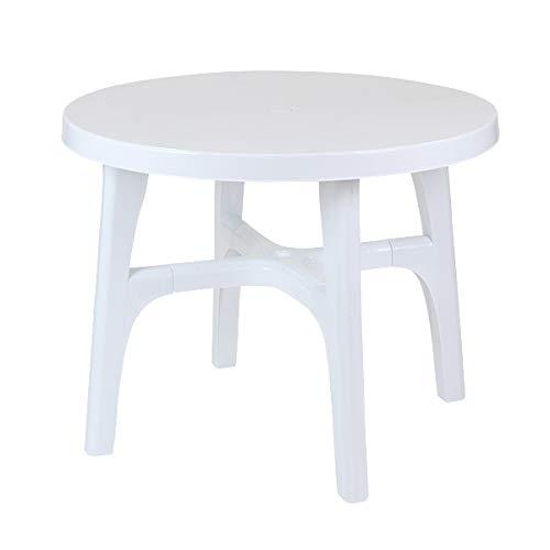 ガーデンテーブル ポリプロピレン製 PP ホワイト 軽量で持ち運び簡単 ガーデンファニチャー ガーデン テーブル アウトドア アウトドアテーブル おしゃれ パラソル使用可 屋外用 庭 テラス バルコニー 丸型 円形 ラウンド プラスチック deckchai