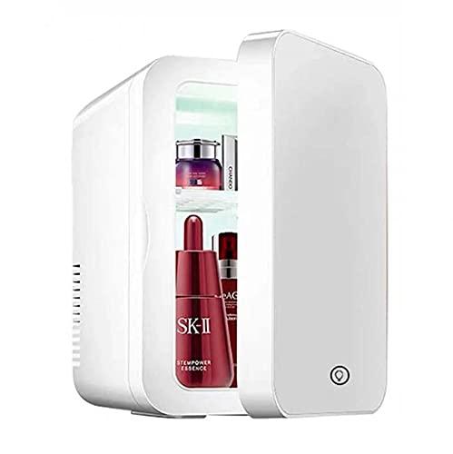 Mini refrigerador de maquillaje de 8L, panel de vidrio compacto, luz LED, congelador más frío, para uso doméstico, automóvil, doble uso