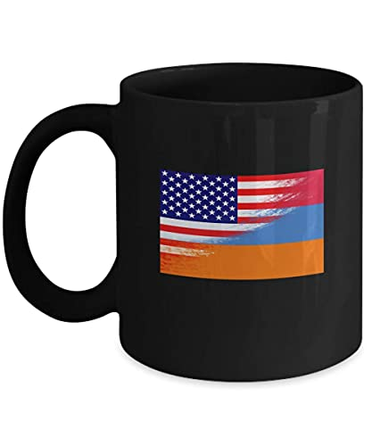 USA Armenien Flagge Armenien 11oz schwarze Kaffeetasse Teetasse