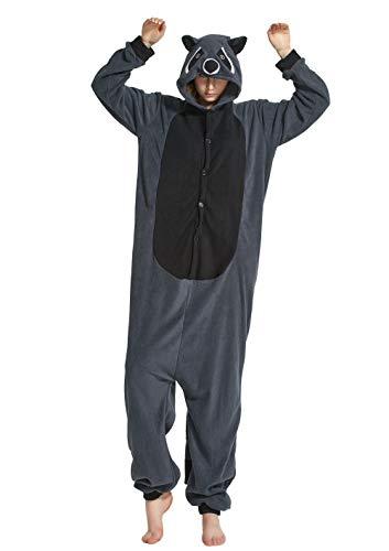 BESUURAN Relaxo Kostüm Waschbär Onesie Jumpsuit Tier Relax Kostuem Pyjama Weihnachten Halloween Schlafanzug Cosplay Erwachsene Karneval Raccoon XL