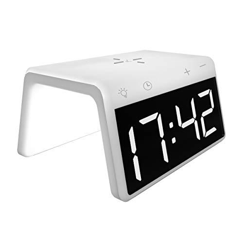 Ksix BXCQI11N Cargador INALAMBRICO Fast Charging Despertador SOBREMESA LUZ Colores 10W (Blanco)