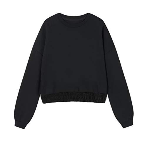 YIBANG-DIANZI Hoddie para Mujer Mujeres Unisex Pareja con Capucha, Invierno Casual Suelto Jumper más tamaño Señoras de otoño e Invierno Tops (Color : Sweatshirt 2 Black, Size : M)