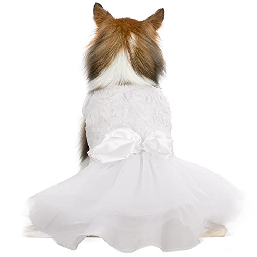 Dog Dress Tutu Skirt for Small Medium Girl Dogs Puppy,Sweet Dog White Princess Dresses with Bowknot and Rose Decor,Pet Lace Costume Summer Apparel Formal Clothes for Wedding Party Holiday (Medium)