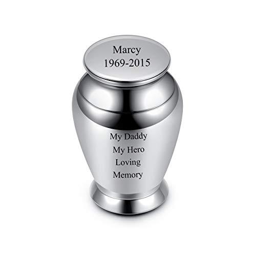 Zysta Personalized Gravur- Mini Urne für Menschen/Haustier Asche, Feuerbestattung Asche Begräbnis Bestattung Mini-Beerdigung Urn Andenken mit Gravur, kleine Größe (Stil 1)