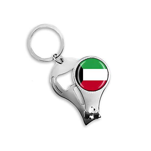 Kuwait Flaggen-Bierflaschenöffner, Nagelknipser, Metall, Glas, Kristall, Schlüsselanhänger, Reise-Souvenir, Geschenk, Schlüsselanhänger Zubehör