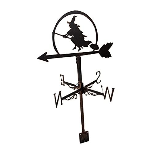 Veleta de Viento de Bruja Decorativa Montura de jardín Negro, Veleta de Acero Inoxidable Granja Retro Durable Escena Viento indicador de dirección