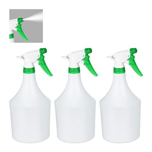 Relaxdays Sprühflasche Pflanzen, 3er Set, einstellbare Düse, 1 Liter, mit Skala, Kunststoff, Blumensprüher, weiß-grün, 3 Stück
