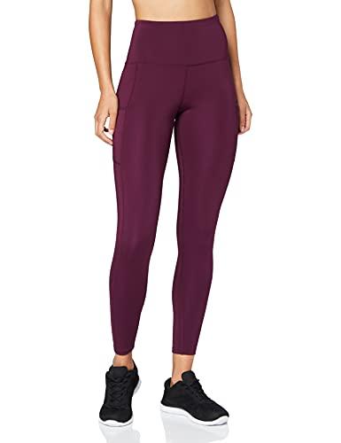 Marca Amazon - AURIQUE Mallas para Correr con Tiro Alto Mujer, Morado (Potent Purple), 38, Label:S