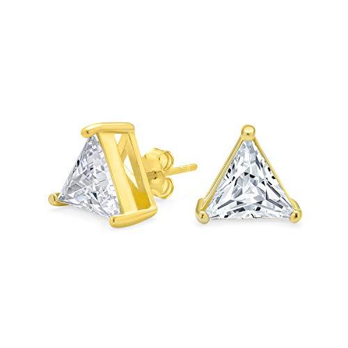 Triangolo Forma Cubica Zirconia AAA CZ Trilione di orecchini taglio Orecchini per uomo Donna Oro Giallo Placcato .925 Sterling Argento 3 Prong Set 10 MM