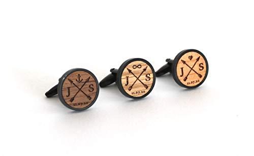 Manschettenknöpfe personalisiert aus Holz mit Gravur Initialien und Datum, Geschenk für Bräutigam, Schwarz mit Holz Nussbaum, Kirschbaum, Eiche