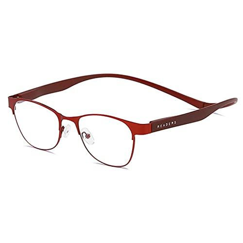 Gafas de Lectura Magnéticas,Lentes Anti-Azul, HD Cómodas,Gafas Anti-perdida,Unisex,Material de PC de Fotograma Completo,Rojo,Dorado,Se Pueden Colgar Alrededor del Cuello +1.50
