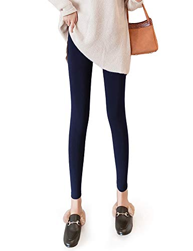 VERO MONTE 1 Pair Navy Opaque Fleece Lined Footless Tights For Women Plus Size